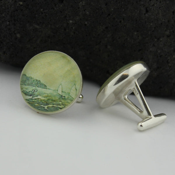 Sterling Silver Sailing Cufflinks  - Vintage New Zealand Postage Stamp Sterling Silver Cufflinks (Cuff Links) - New Zealand Handmade Cufflinks - Sailor