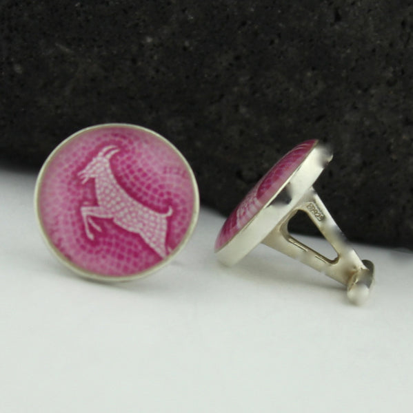 Capricorn Cufflinks - Sterling Silver Zodiac Cuff Links
