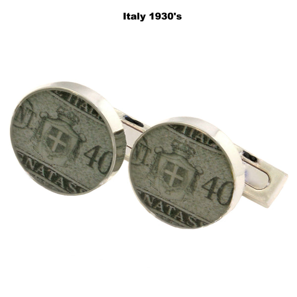 Men's Cufflinks - Italy 1930's Vintage Postage Stamp + Sterling Silver