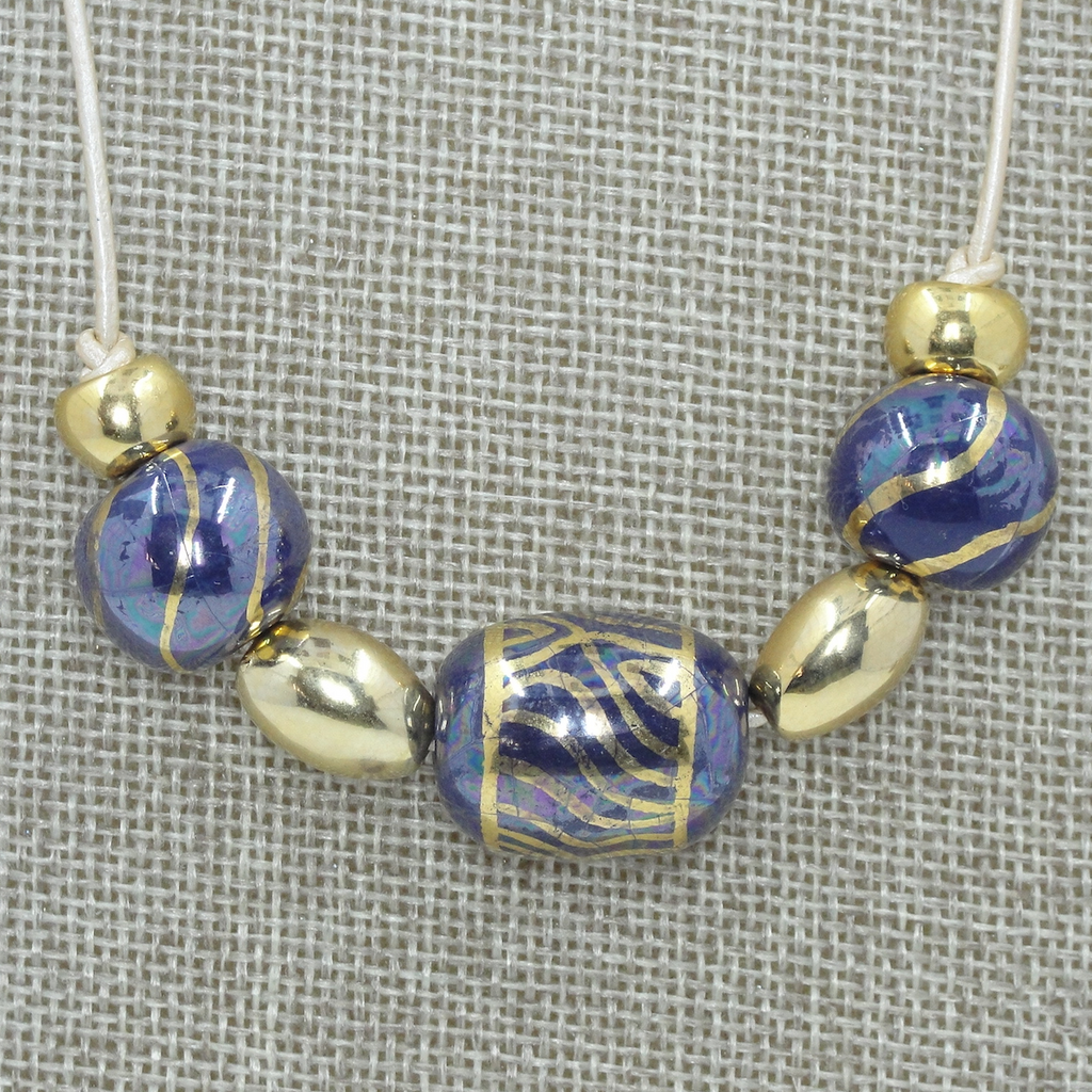 Three Bead, Leather Blue & Gold Necklace