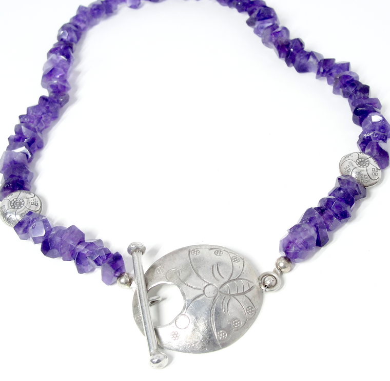 Amethyst & Hill Tribe Silver Butterfly Necklace