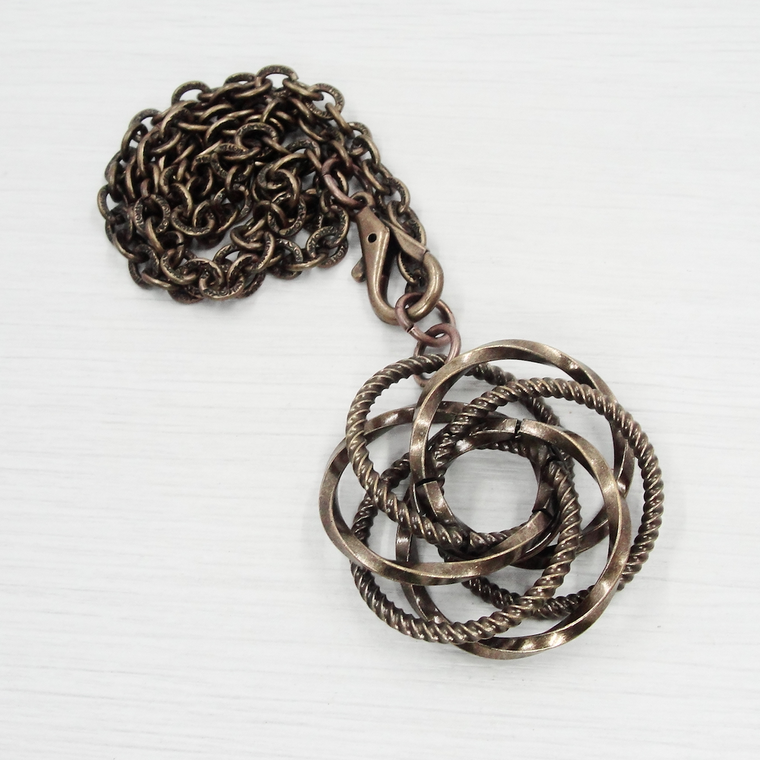 Antique Bronze Fancy Love Knot Necklace