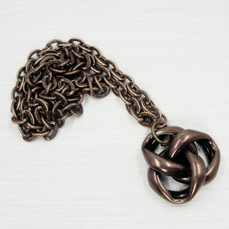 Antique Bronze Vintage Love Knot Pendant Necklace