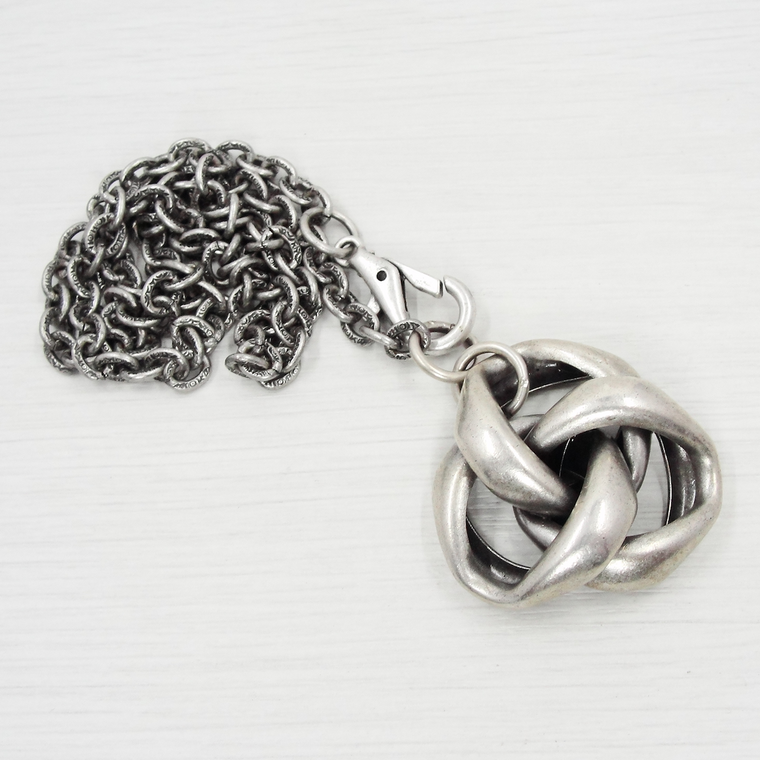 Antique Silver Vintage Love Knot Pendant Necklace