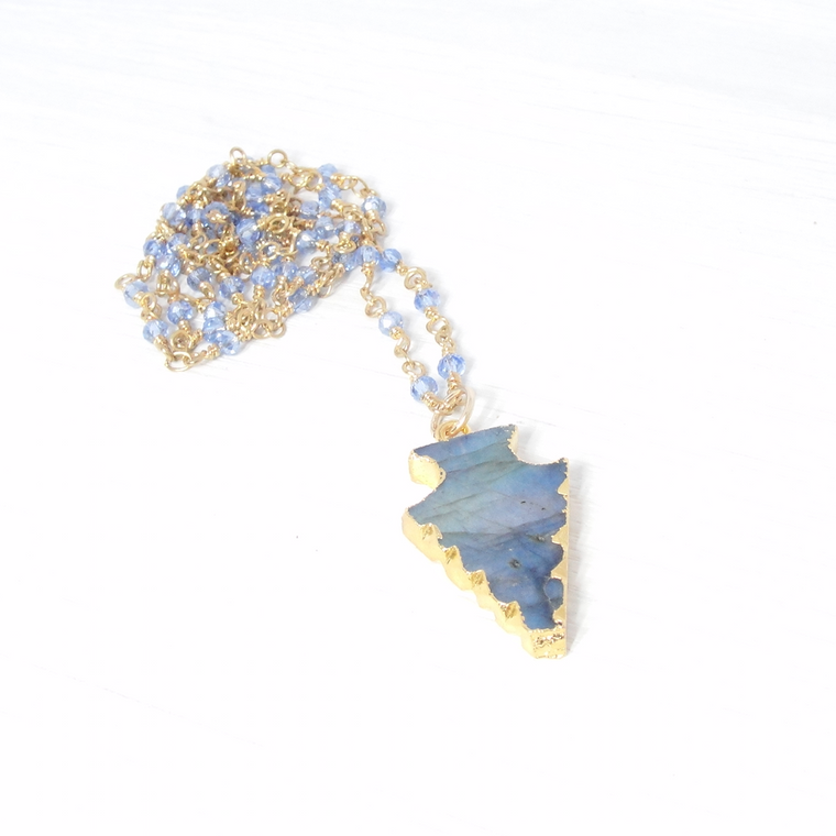 Apatite & Gold Beaded Chain with Labradorite Pendant