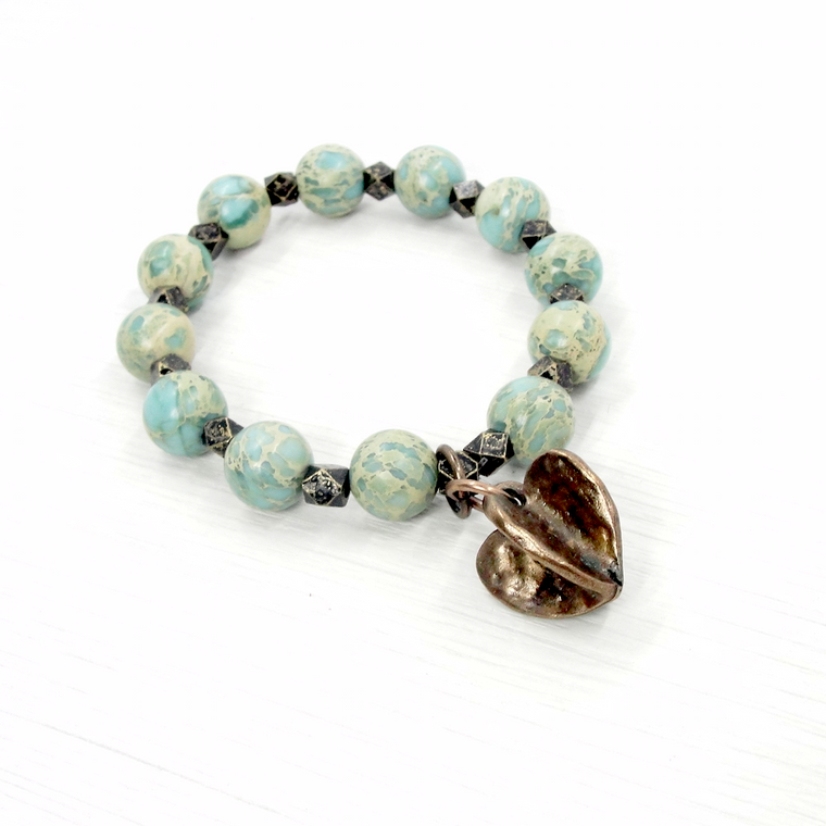Aqua Terra Jasper and Bronze Heart Stretch Braclet