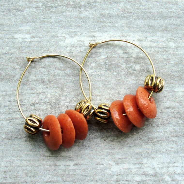 Burnt Orange Ashanti Glass Hoop Earrings