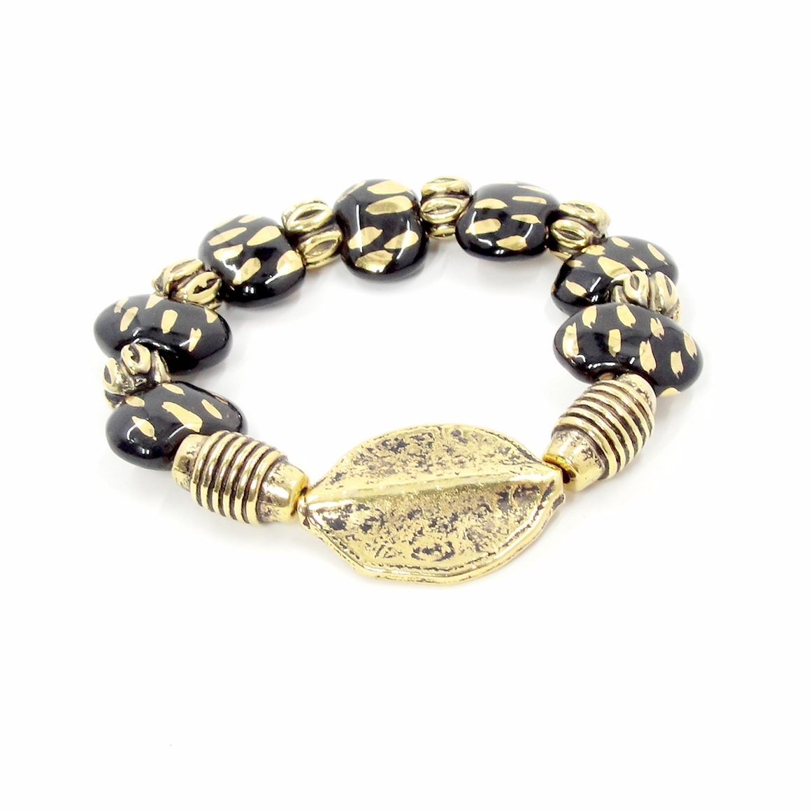 Black & Gold Leaf Stretch Bracelet