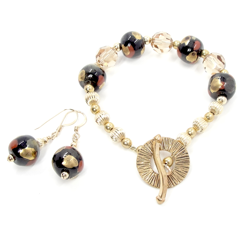 Gold, Black & Sparkling Crystal Bracelet & Earrings Set