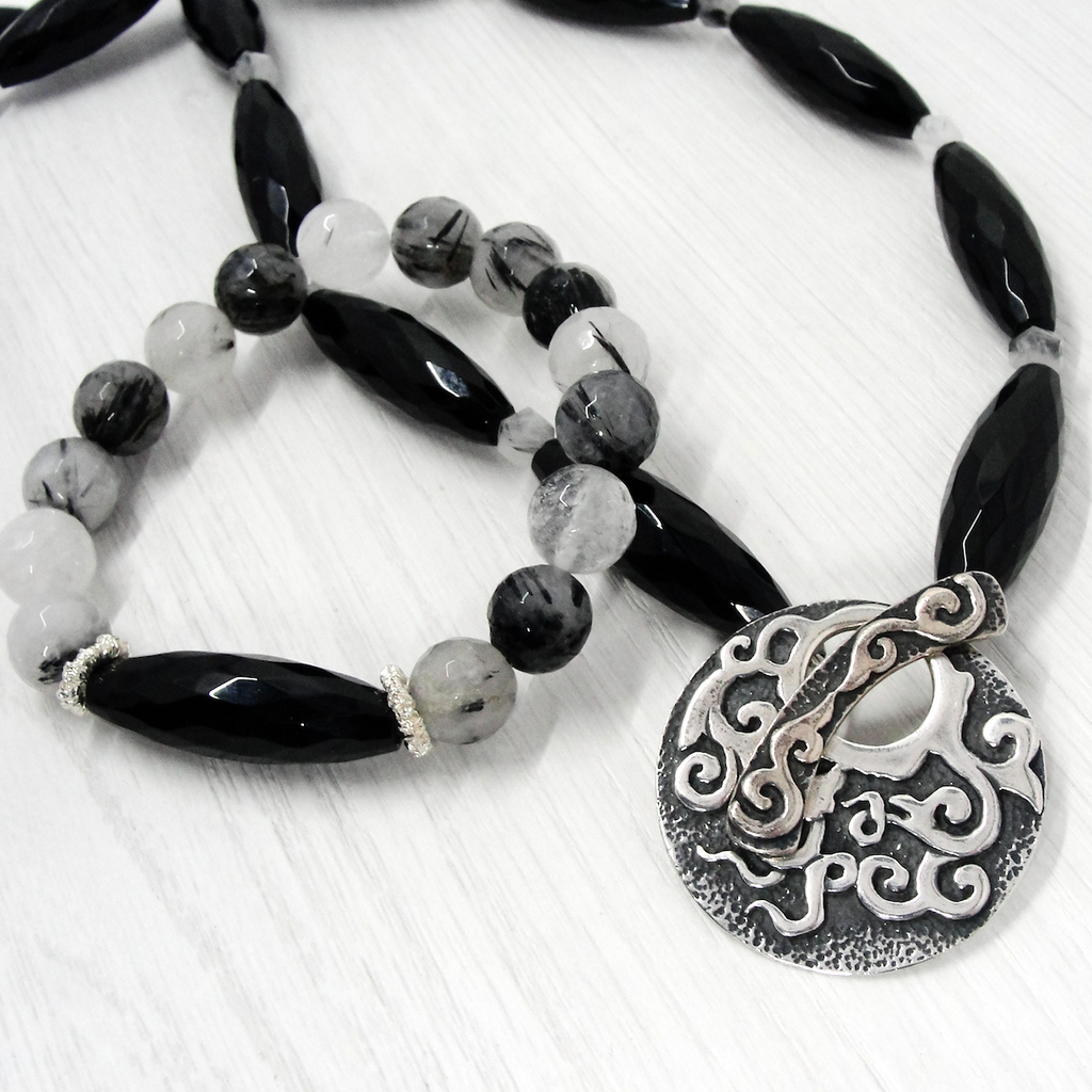 Black Onyx and Rutilated Quartz Necklace
