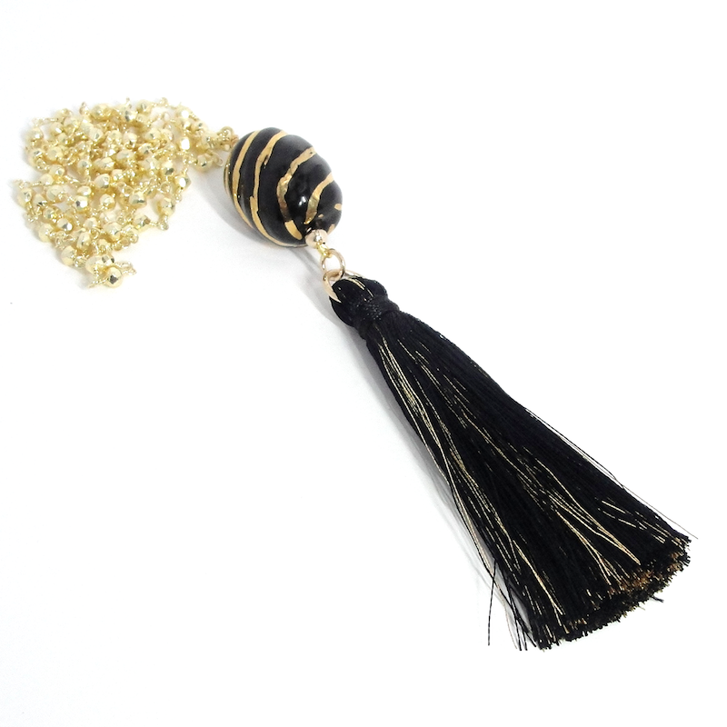 Black & Gold Boho Tassel Necklace
