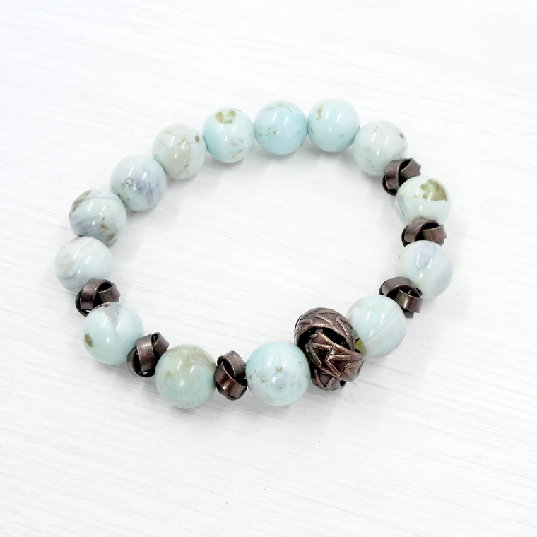 Blue Agate and Bronze Love Knot Stretch Bracelet