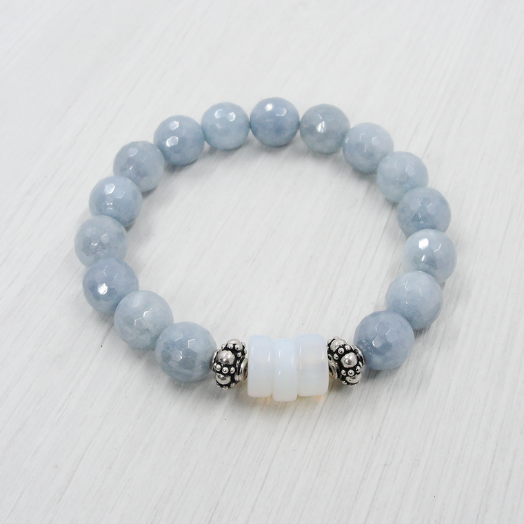Blue Agate and Opaline Stretch Bracelet