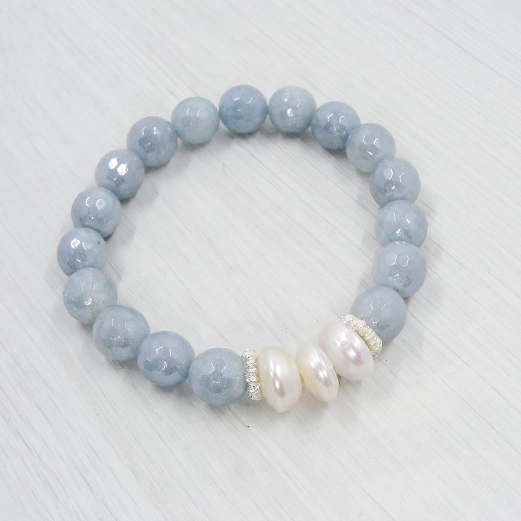 Blue Agate Stretch Bracelet with Pearls