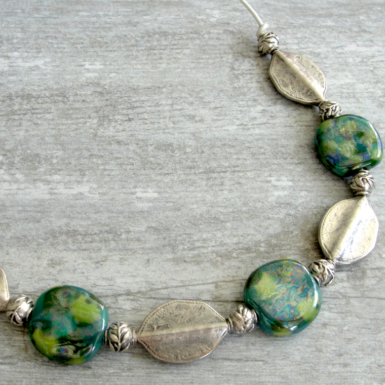 Blue & Green Kazuri & Silver Leaf Necklace