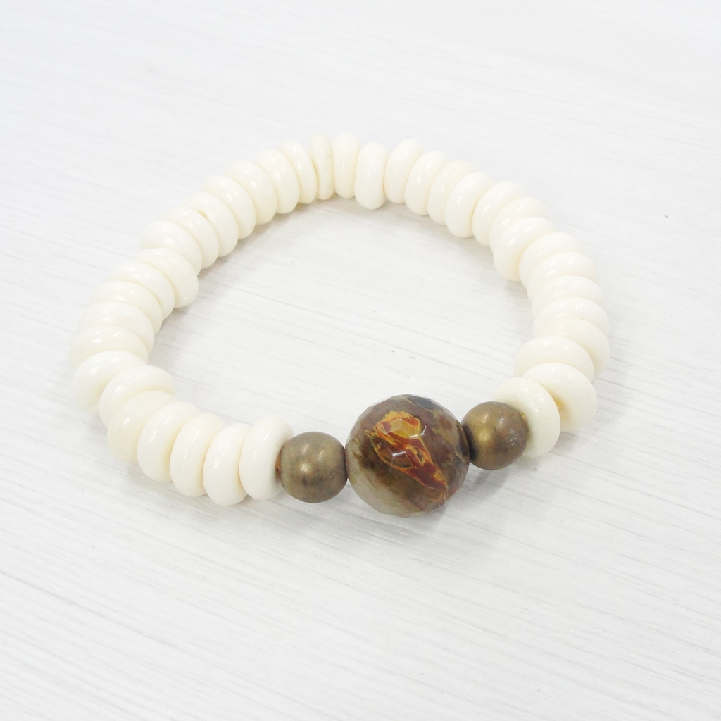 Bone & Golden Brown Gemstone Stretch Bracelet