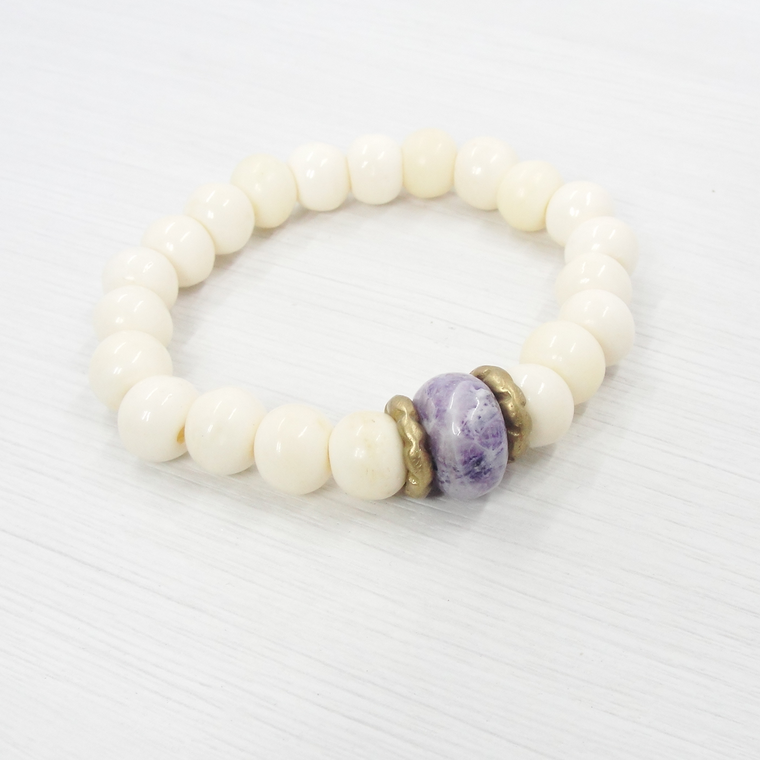 Bone & Purple Jasper Stretch Bracelet