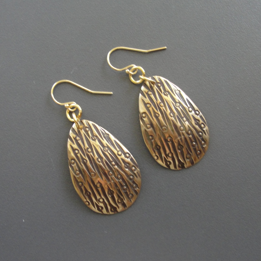 Bronze Large Etched Drop Earrings