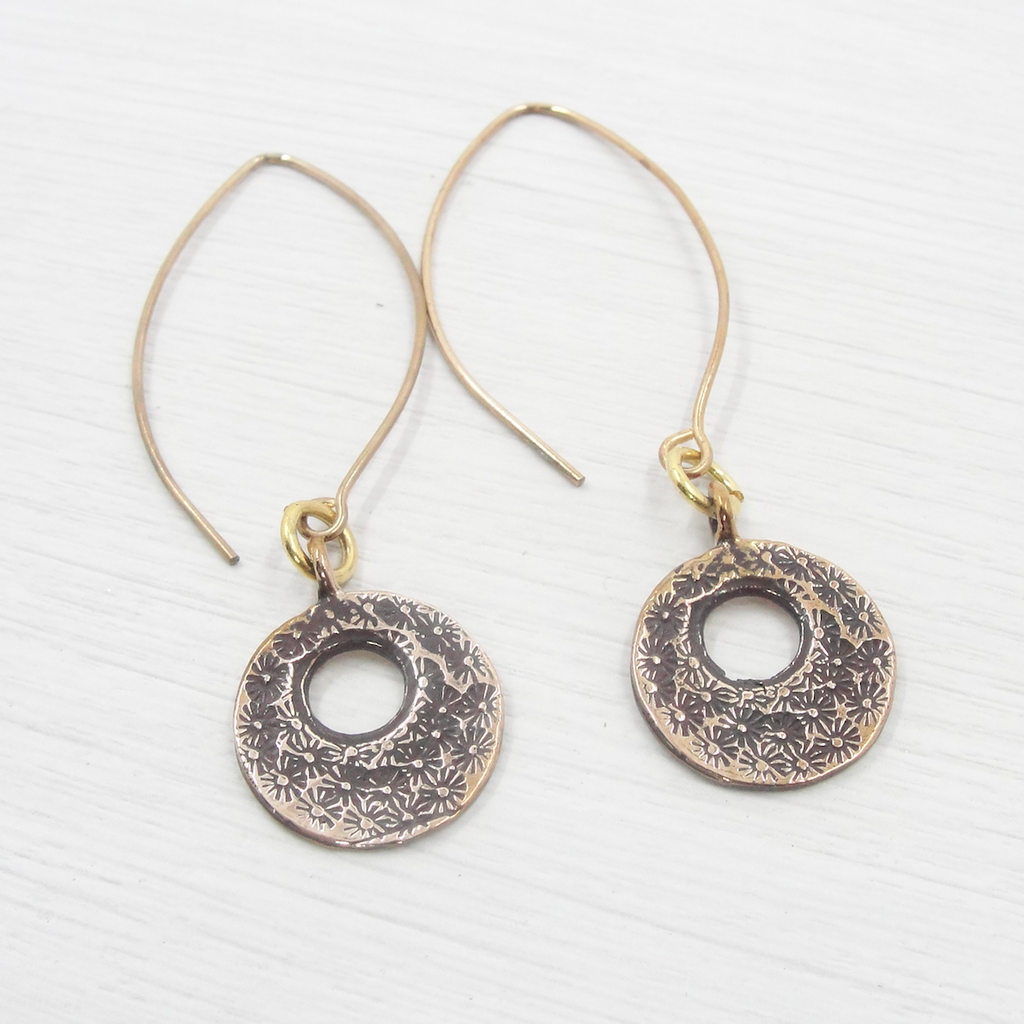 Petite Bronze Etched Earrings