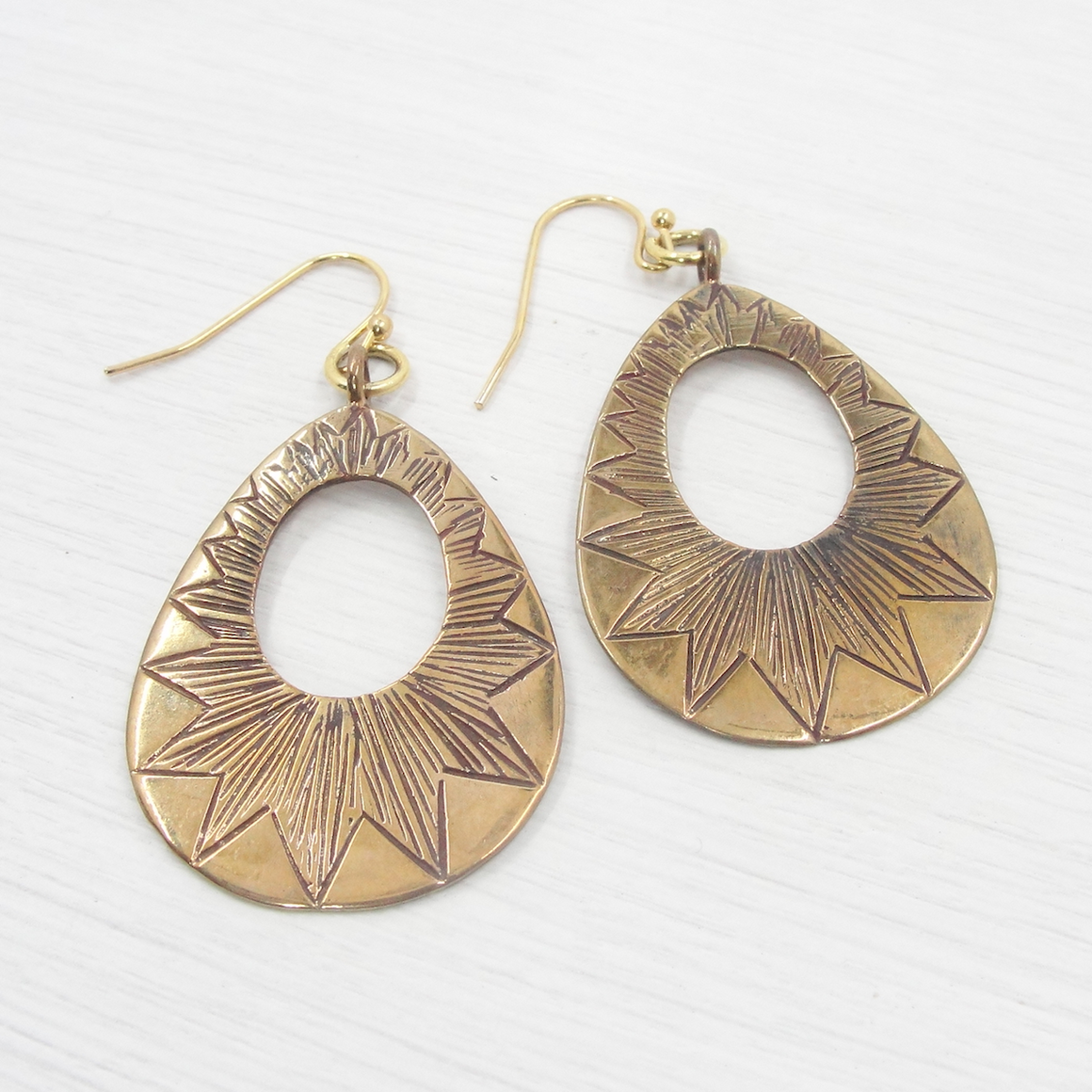 Bronze Etched Statement Earrings