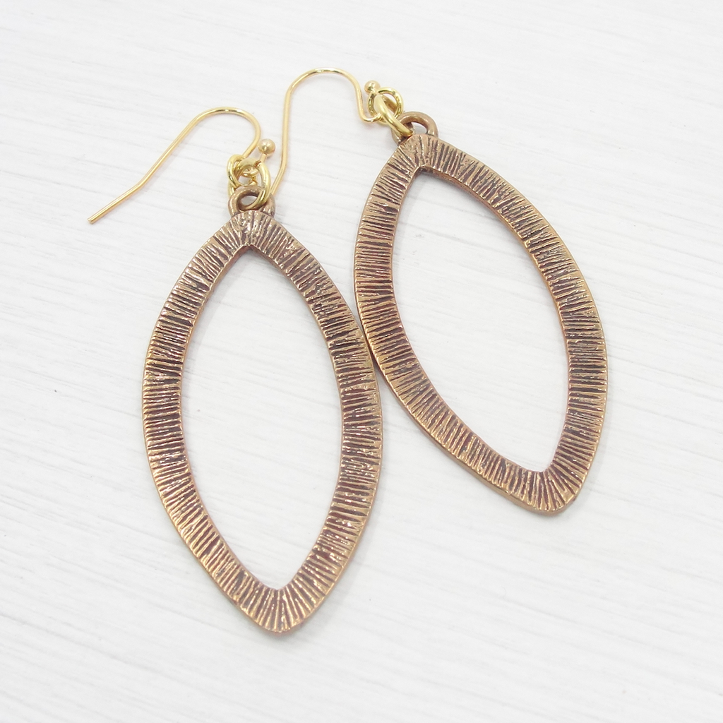 Large Bronze Etched Oval Earrings