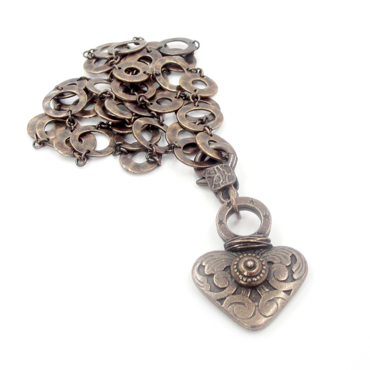 Bronze Heart Pendant Necklace