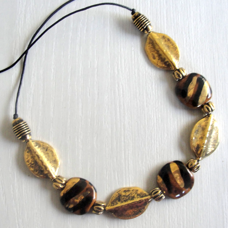Brown and Black Kazuri & Gold Leaf Statement Necklace