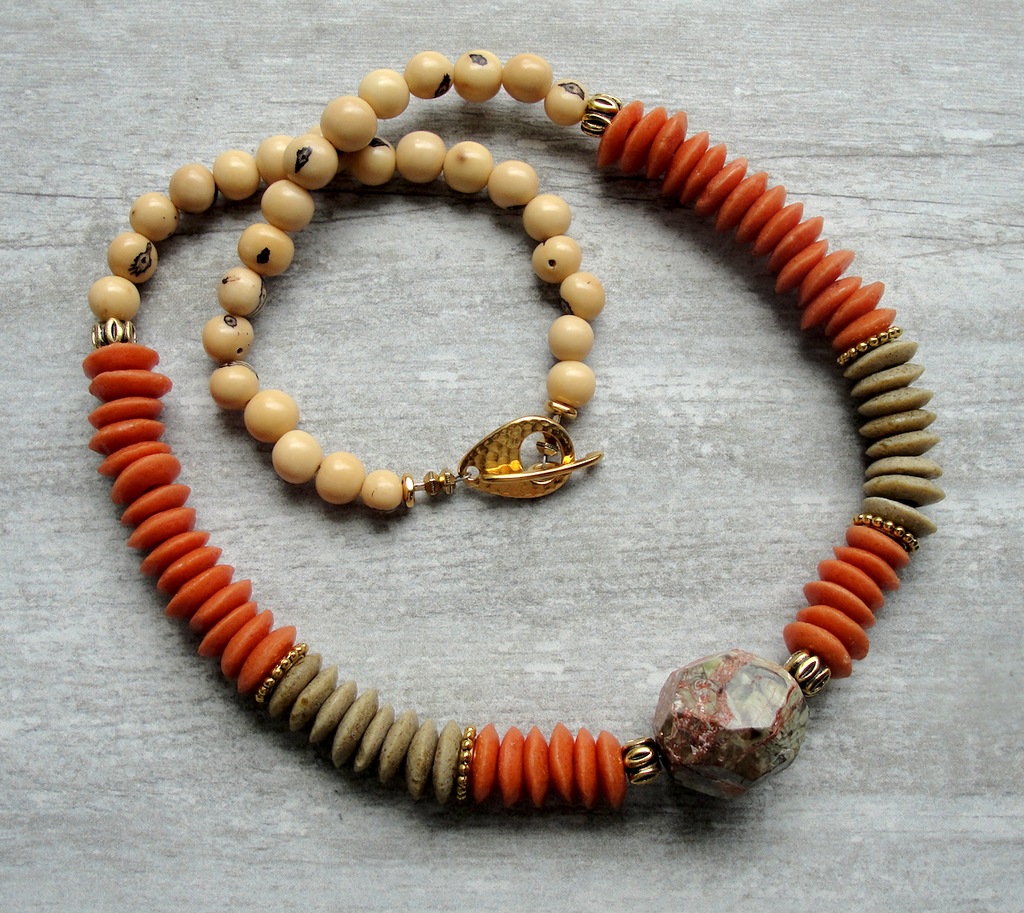 Burnt Orange & Tan Ashanti Glass & Gemstone Necklace