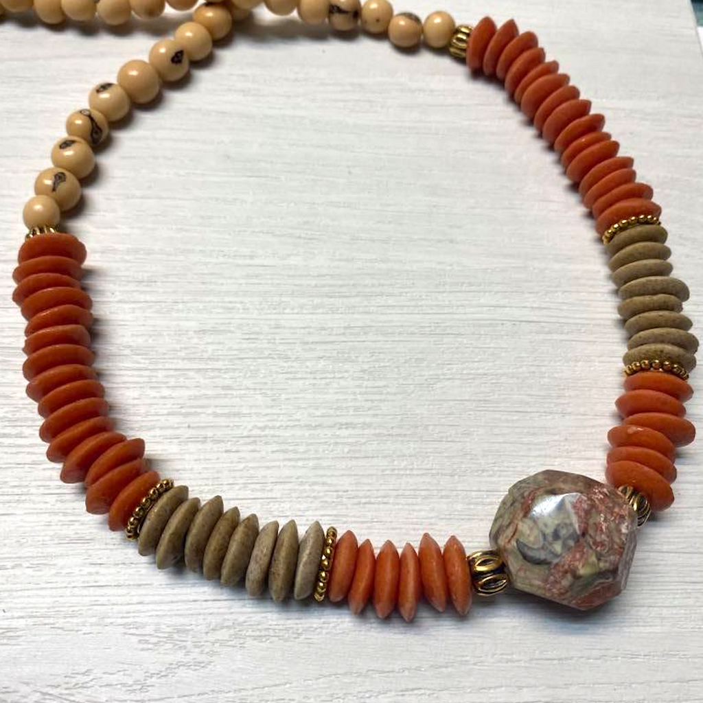 Dark Orange Ashanti & Gemstone Necklace
