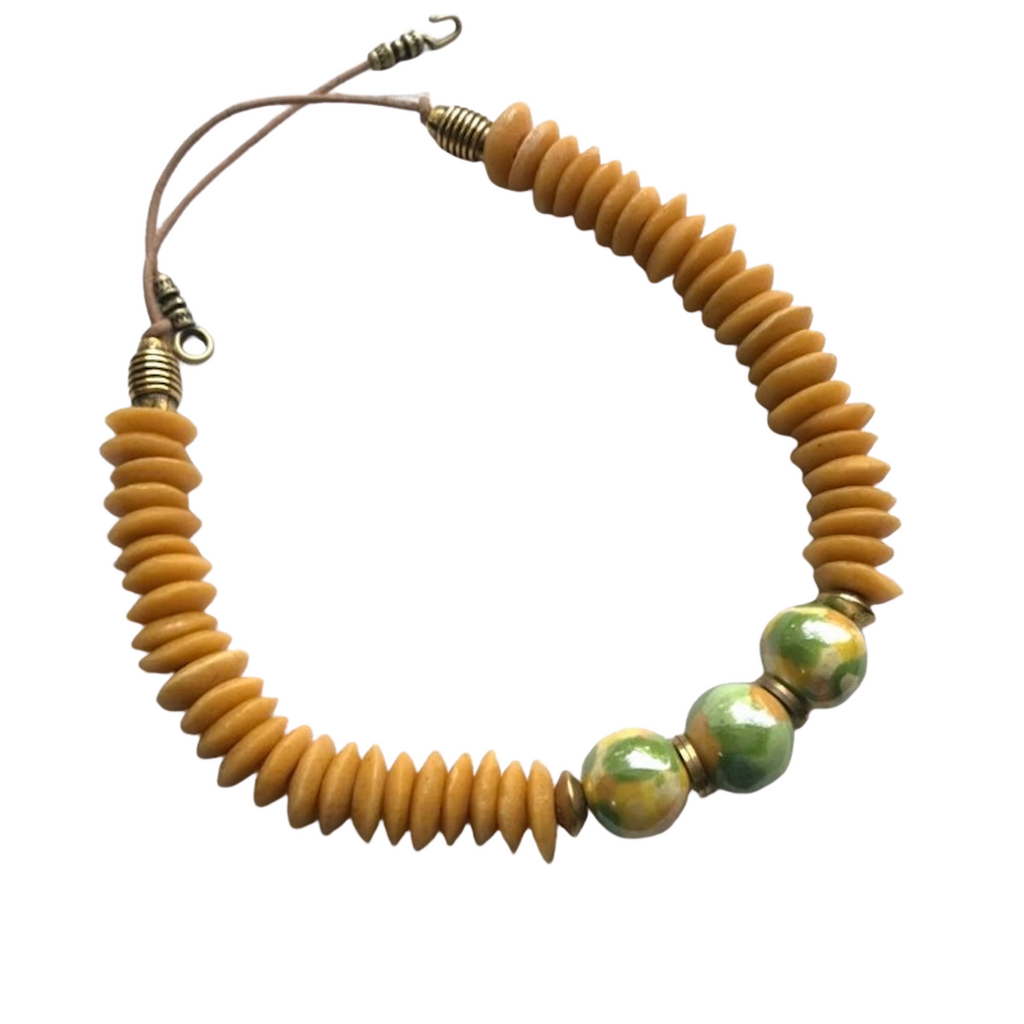 Golden Yellow Ashanti & Kazuri Necklace