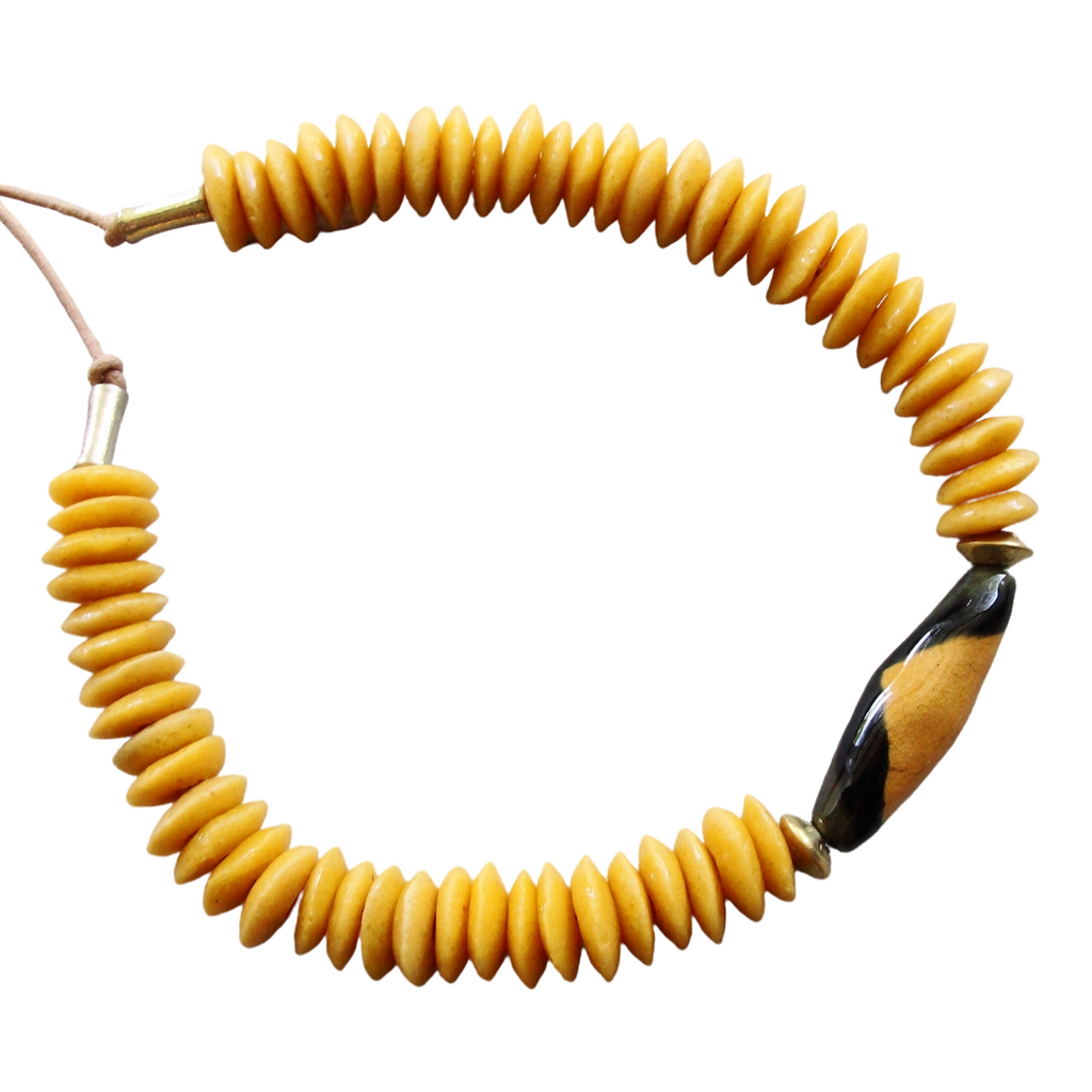 Golden Yellow Ashanti Glass & Kazuri Necklace