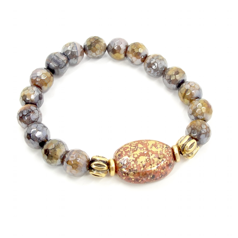 Golden Tiger Eye Rust & Gold Stretch Bracelet