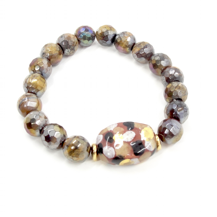 Golden Tiger Eye Rust, Black & Gold Stretch Bracelet