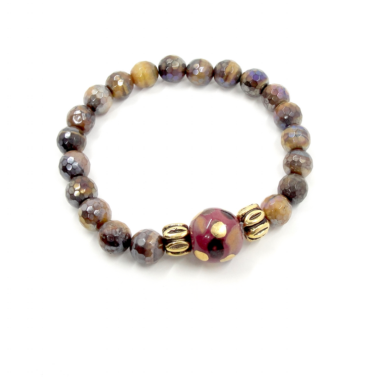 Golden Tiger Eye, Wine & Gold Stretch Bracelet