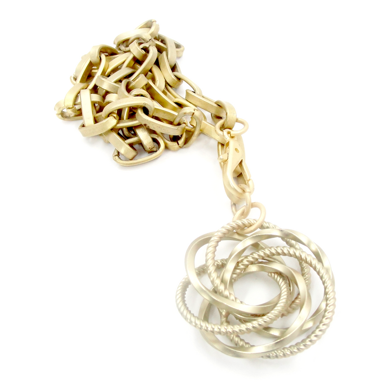 Matte Gold Fancy Love Knot Pendant Necklace