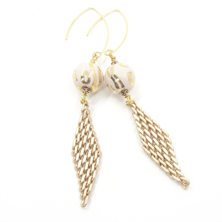 Ivory & Gold Mesh Dangle Earrings