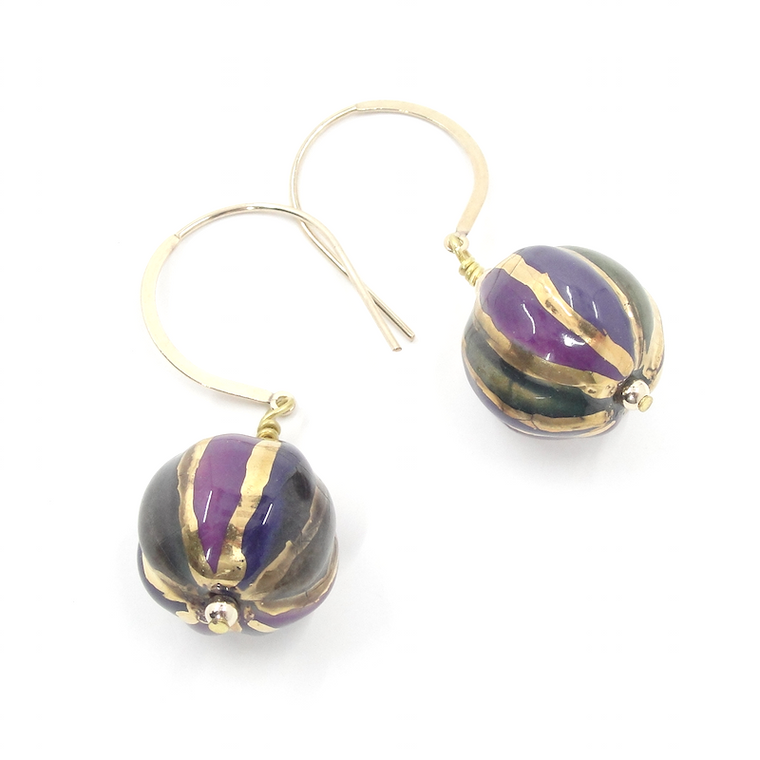 Gold & Multi-Colored Ball Earrings