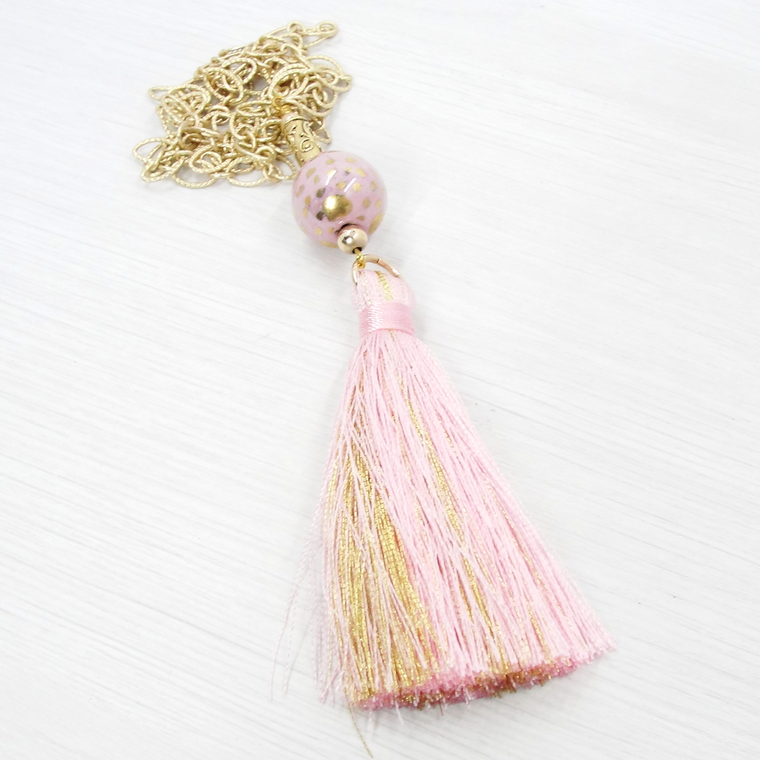 Pink and Gold Boho Tassel Pendant Necklace