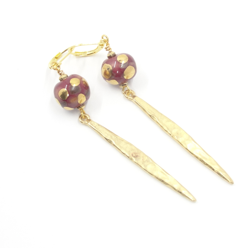 Wine & Gold Dagger Earrings