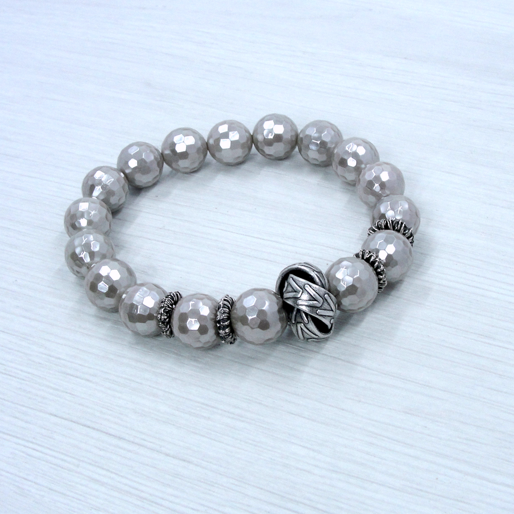 Gray Mother of Pearl & Silver Love Knot Stretch Bracelet