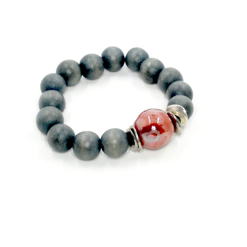 Gray and Peach Wood Stretch Bracelet