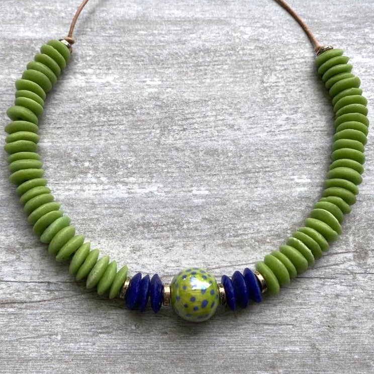 Lime Green & Blue Ashanti & Kazuri Necklace