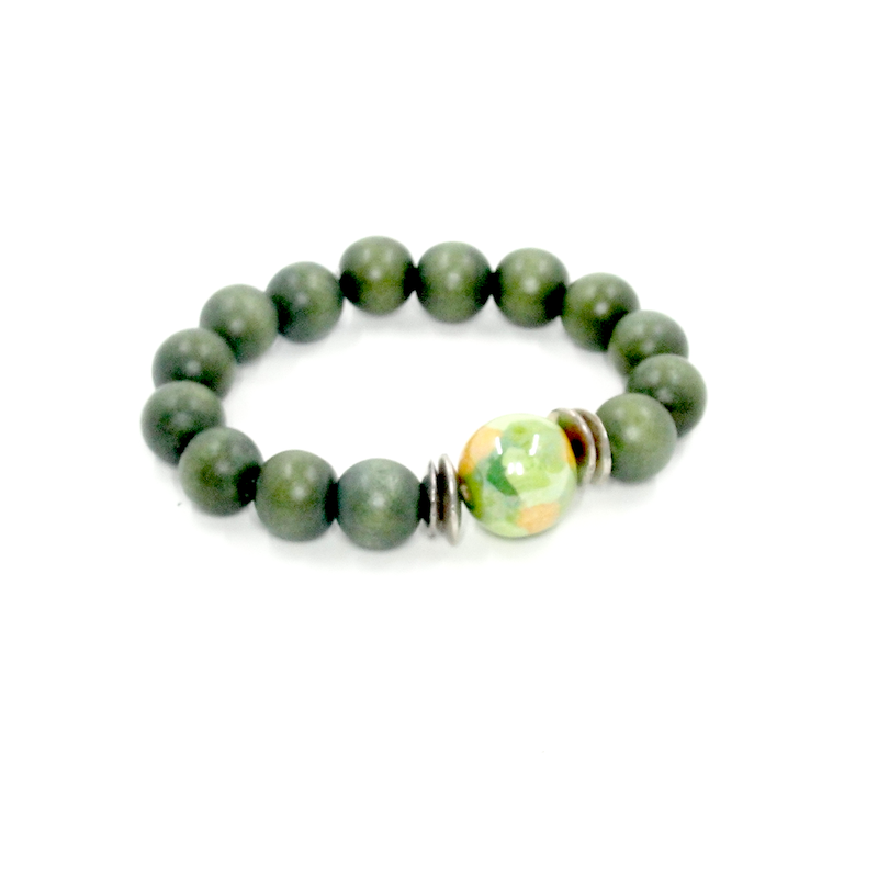 Green Wood Stretch Bracelet with Kazuri Bead