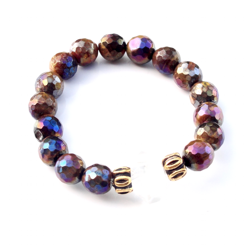 Golden Tiger Eye & Crystal Stretch Bracelet