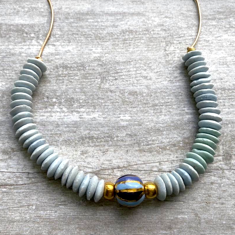 Light Blue & Gold Ashanti & Kazuri Necklace