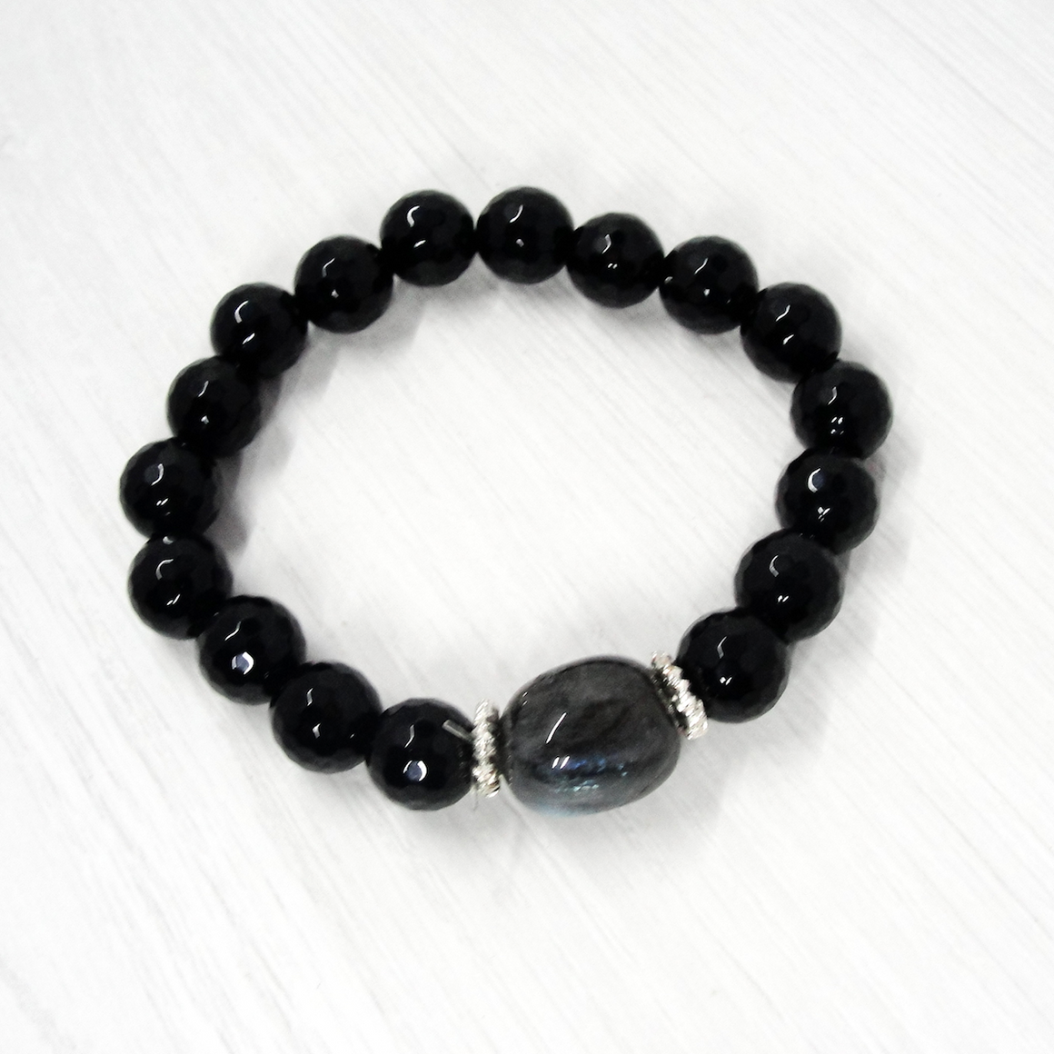 Black Onyx and Labradorite Stretch Bracelet