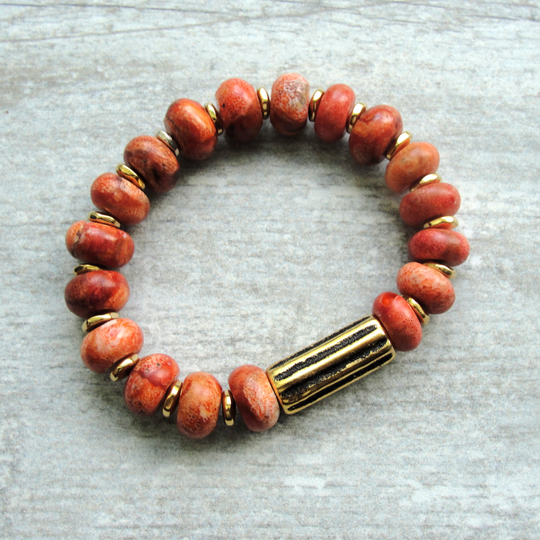 Orange Coral Stretch Bracelet