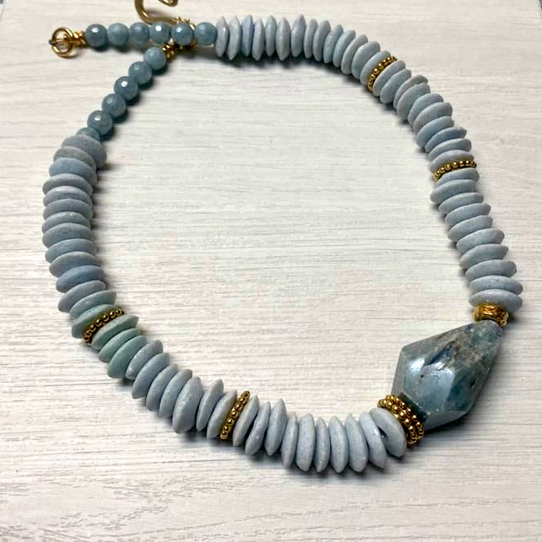 Pale Blue Ashanti & Kyanite Necklace