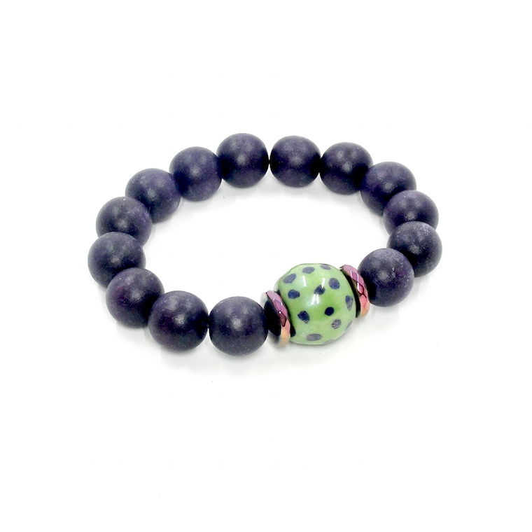 Purple and Green Wood Stretch Bracelet