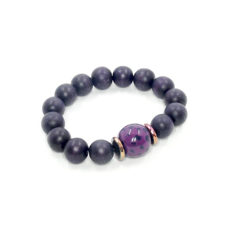 Purple Wood Stretch Bracelet
